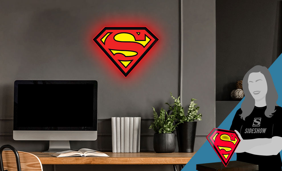 Gallery Feature Image of Superman LED Logo Light (Regular) Wall Light - Click to open image gallery