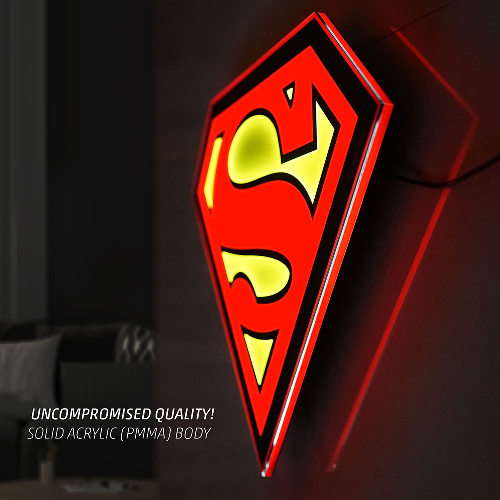 Superman Led Logo Wall Light Sideshow Collectibles
