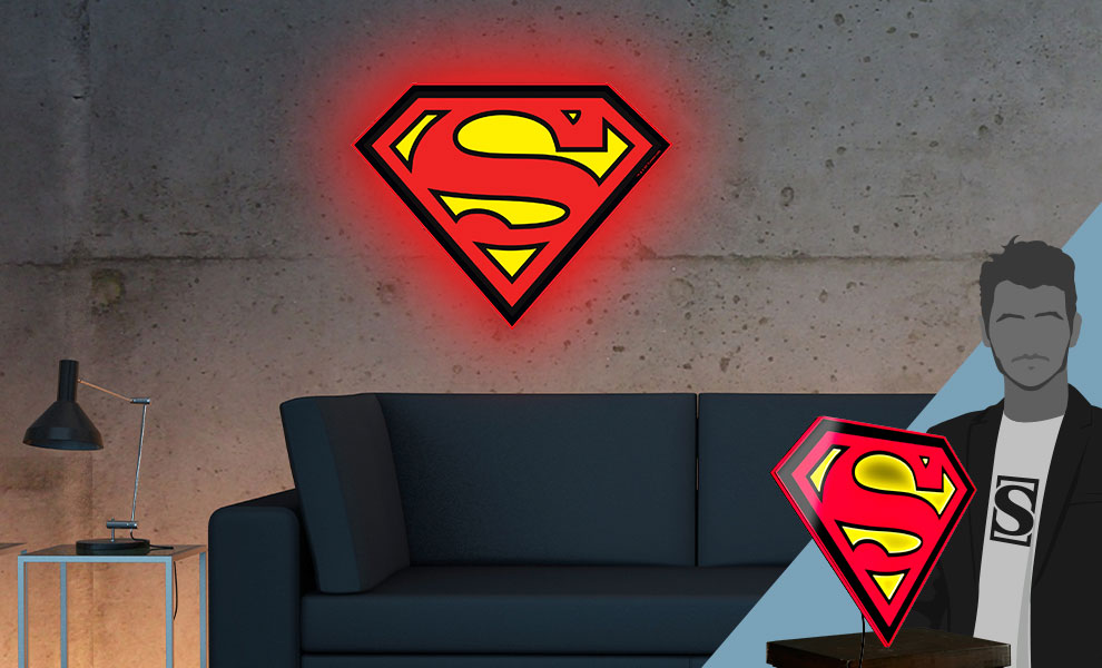 Gallery Feature Image of Superman LED Logo Light (Large) Wall Light - Click to open image gallery