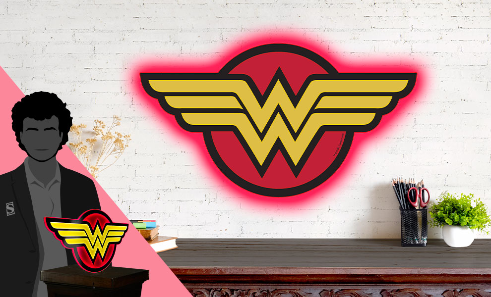 Gallery Feature Image of Wonder Woman LED Logo Light (Regular) Wall Light - Click to open image gallery