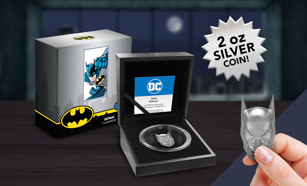 Gallery Feature Image of Batman 2oz Silver Coin Silver Collectible - Click to open image gallery