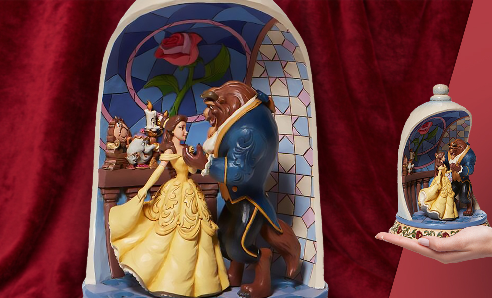 Gallery Feature Image of Beauty and the Beast Rose Dome Polyresin Figure - Click to open image gallery