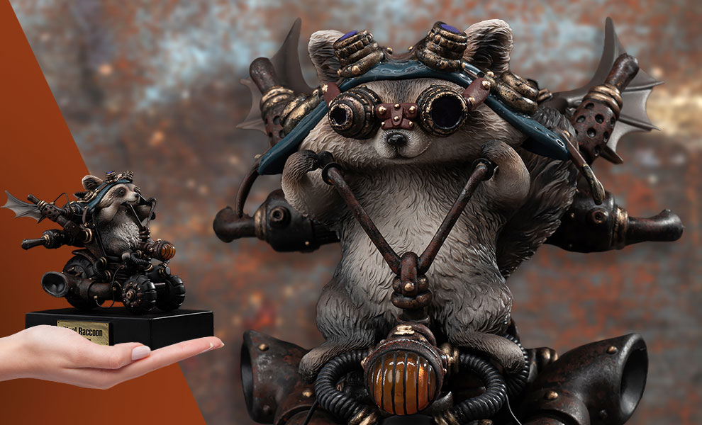 Gallery Feature Image of Steel Raccoon Statue - Click to open image gallery