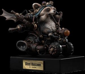 Steel Raccoon Statue
