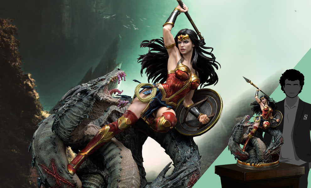 Gallery Feature Image of Wonder Woman VS Hydra Bonus Version Statue - Click to open image gallery
