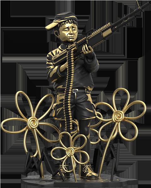 Mighty Jaxx Crayon Shooter (LA Gold Edition) Polystone Statue