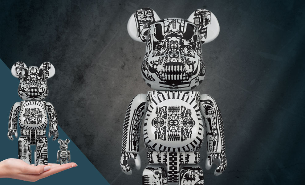 Gallery Feature Image of Be@rbrick H.R. Giger (White Chrome Version) 100% & 400% Bearbrick - Click to open image gallery