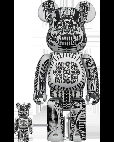 Medicom Toy Be@rbrick H.R. Giger (White Chrome Version) 100% & 400% Bearbrick