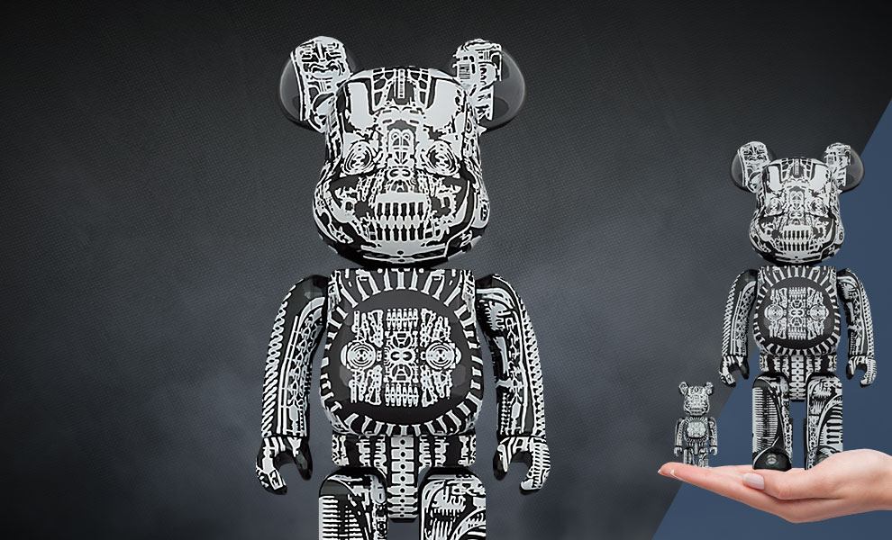 Gallery Feature Image of Be@rbrick H.R. Giger (Black Chrome Version) 100% & 400% Bearbrick - Click to open image gallery