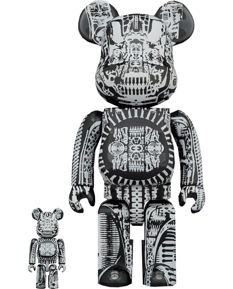 Medicom Toy Be@rbrick H.R. Giger (Black Chrome Version) 100% & 400% Bearbrick