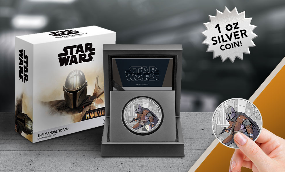 Gallery Feature Image of The Mandalorian 1oz Silver Coin Silver Collectible - Click to open image gallery