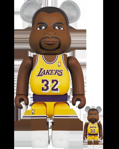 Medicom Toy Be@rbrick Magic Johnson (Los Angeles Lakers) 100% and 400% Bearbrick