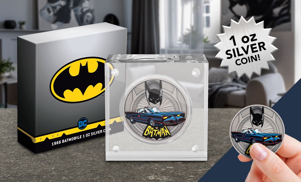 Gallery Feature Image of 1966 Batmobile 1oz Silver Coin Silver Collectible - Click to open image gallery
