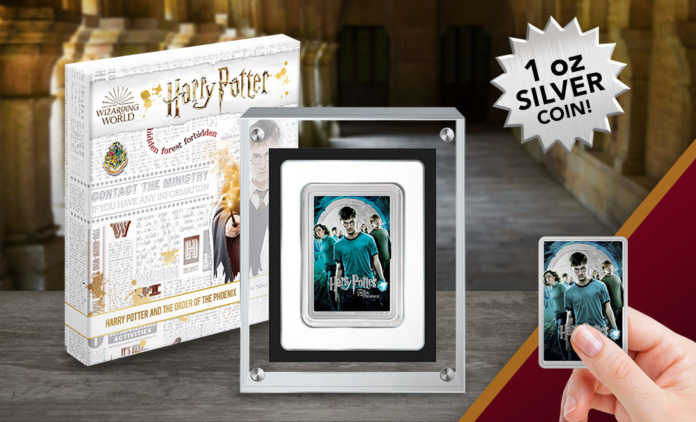 Gallery Feature Image of Harry Potter and the Order of Phoenix Silver Coin Silver Collectible - Click to open image gallery