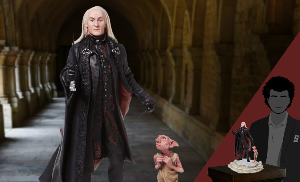 Gallery Feature Image of Lucious Malfoy with Dobby Figurine - Click to open image gallery