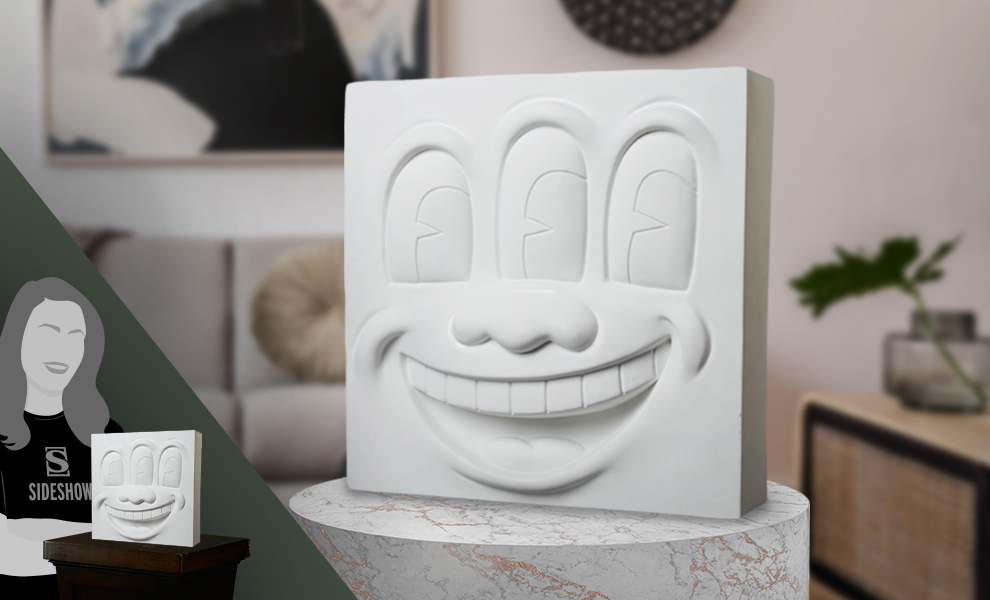 Gallery Feature Image of Keith Haring Three Eyed Smiling Face (White Version) Collectible Statue - Click to open image gallery