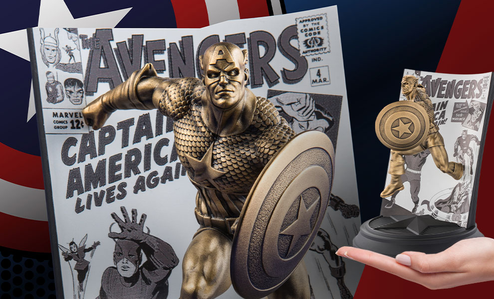 Gallery Feature Image of Captain America The Avengers #4 (Gilt) Pewter Collectible - Click to open image gallery