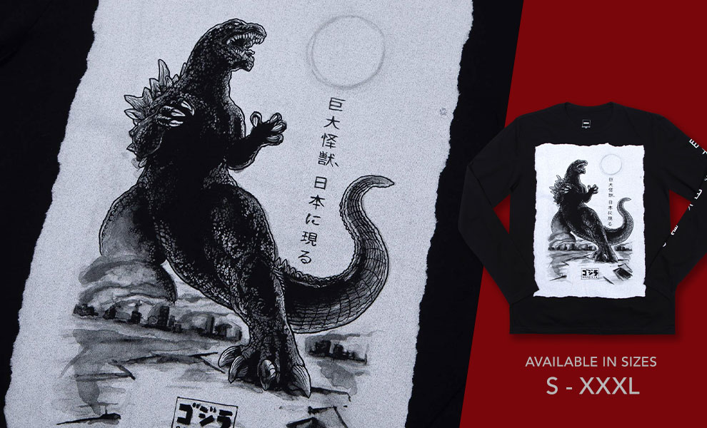 Gallery Feature Image of Godzilla Black Long Sleeve Apparel - Click to open image gallery