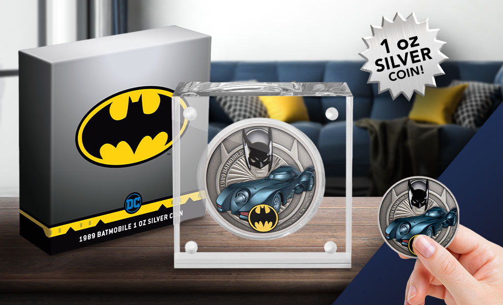 Gallery Feature Image of 1989 Batmobile 1oz Silver Coin Silver Collectible - Click to open image gallery