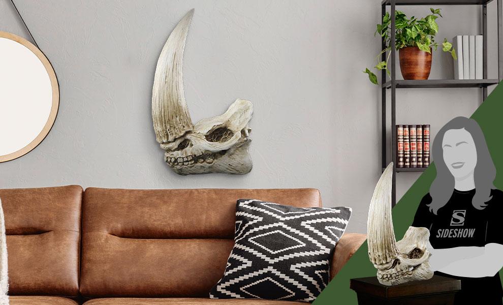 Gallery Feature Image of Mudhorn Skull Wall Decor Statue - Click to open image gallery
