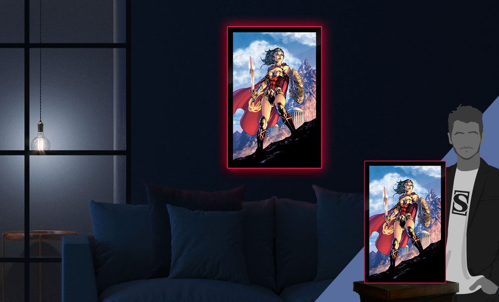 Gallery Feature Image of Wonder Woman Comic Cover LED Poster Sign (Large) Wall Light - Click to open image gallery