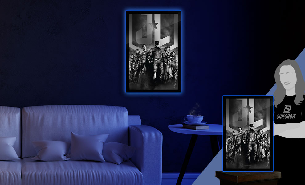 Gallery Feature Image of Zack Snyder's Justice League B&W Group Scene LED Poster Sign (Large) Wall Light - Click to open image gallery