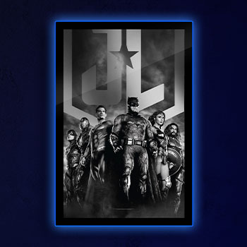 Zack Snyder's Justice League B&W Group Scene LED Poster Sign (Large) Wall Light