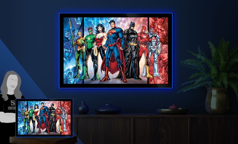 Gallery Feature Image of Justice League of America Comic Cover LED Poster Sign (Large) Wall Light - Click to open image gallery