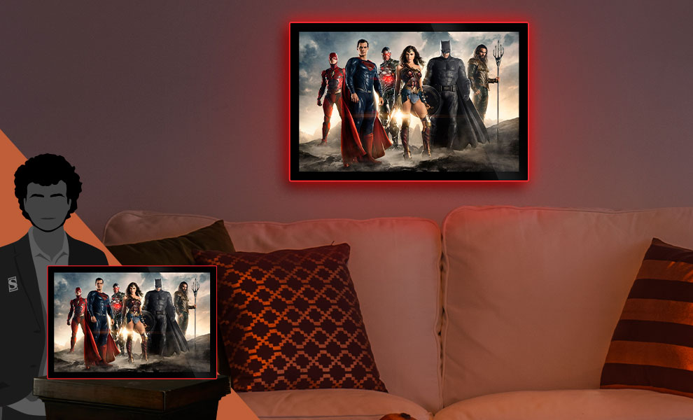 Gallery Feature Image of Justice League of America Movie Poster LED Poster Sign (Large) Wall Light - Click to open image gallery