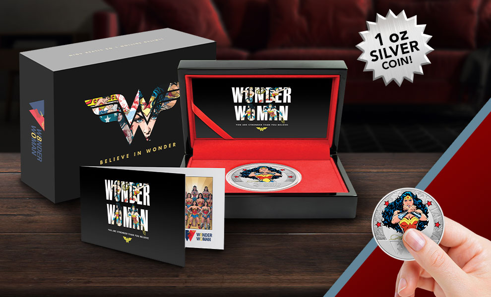 Gallery Feature Image of Wonder Woman 80th Anniversary 1oz Silver Coin Silver Collectible - Click to open image gallery