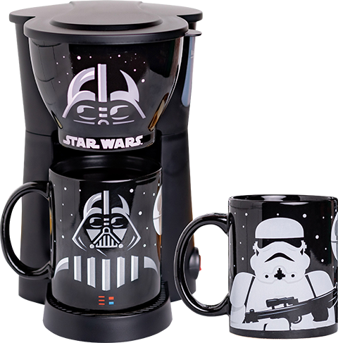 Uncanny Brands, LLC Darth Vader and Stormtrooper Single Cup Coffee Maker with Two Mugs Kitchenware