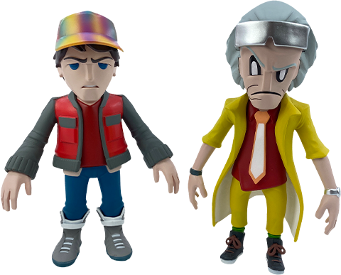 3D Retro Doc and Marty Collectible Set