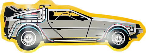 3D Retro Back to The Future Part I DeLorean Shaped Skateboard Deck
