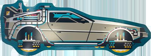 3D Retro Back to The Future PART II DeLorean Shaped Skateboard Deck