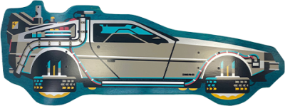 Back to The Future PART II DeLorean Shaped Skateboard Deck