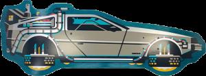Back to The Future PART II DeLorean Shaped Skateboard Deck