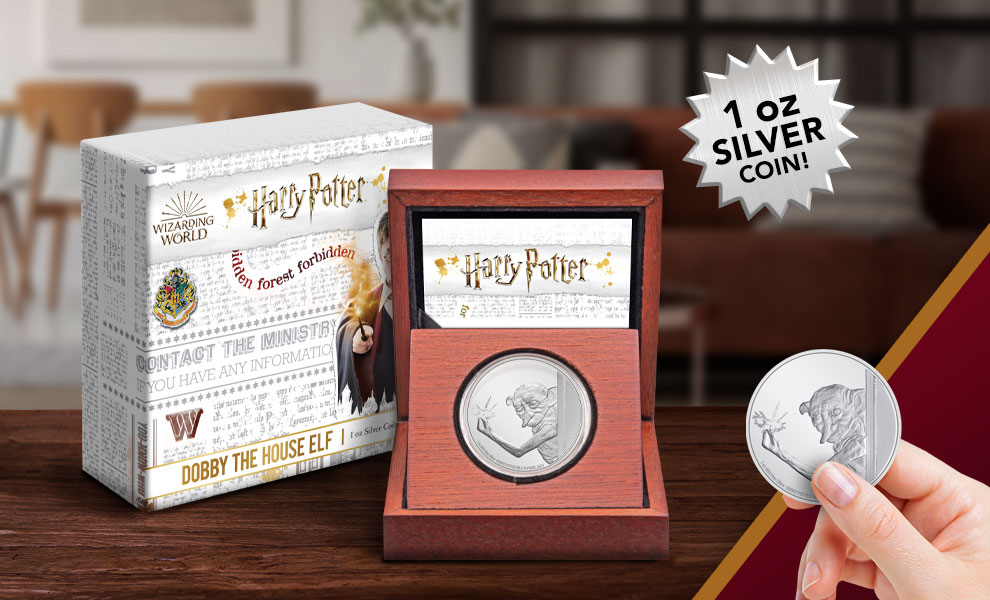 Gallery Feature Image of Dobby the House Elf 1oz Silver Coin Silver Collectible - Click to open image gallery