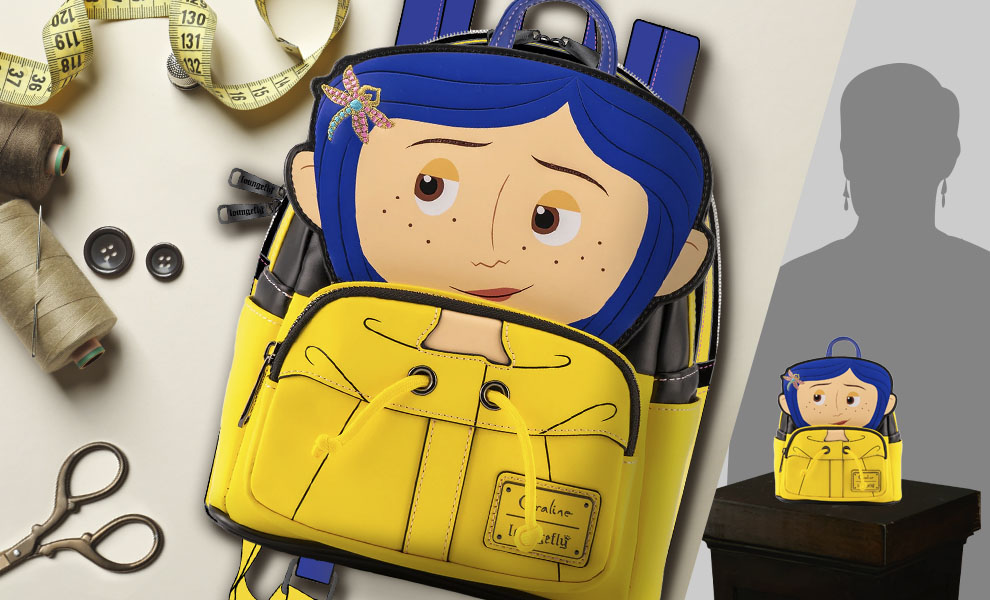 Gallery Feature Image of Coraline Raincoat Cosplay Mini Backpack Apparel - Click to open image gallery