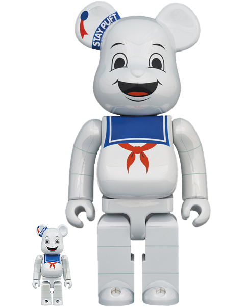 Medicom Toy Be@rbrick Stay Puft Marshmallow Man (White Chrome Version) 100% & 400% Bearbrick