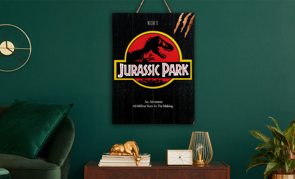 """Gallery Feature Image of Jurassic Park WOODART 3D """"1993 Art"""" Wood Wall Art - Click to open image gallery"""