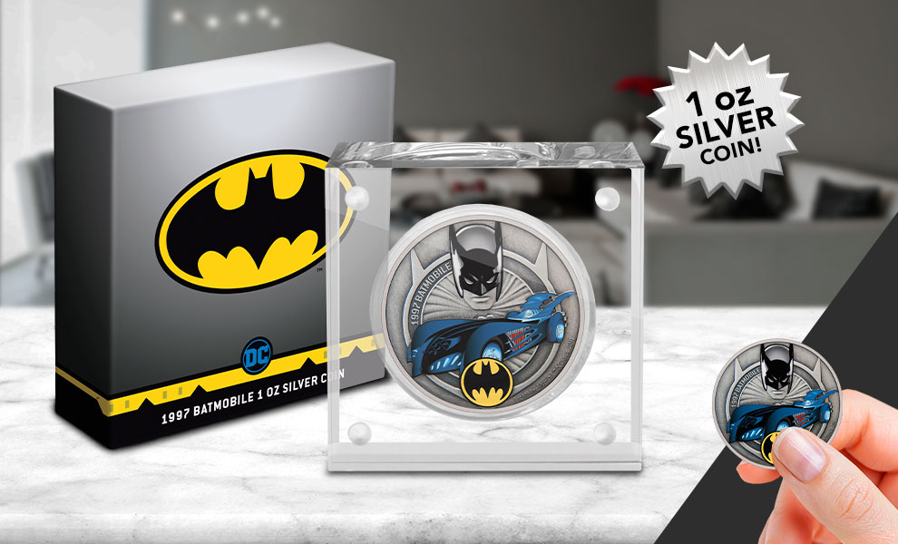 Gallery Feature Image of 1997 Batmobile 1oz Silver Coin Silver Collectible - Click to open image gallery