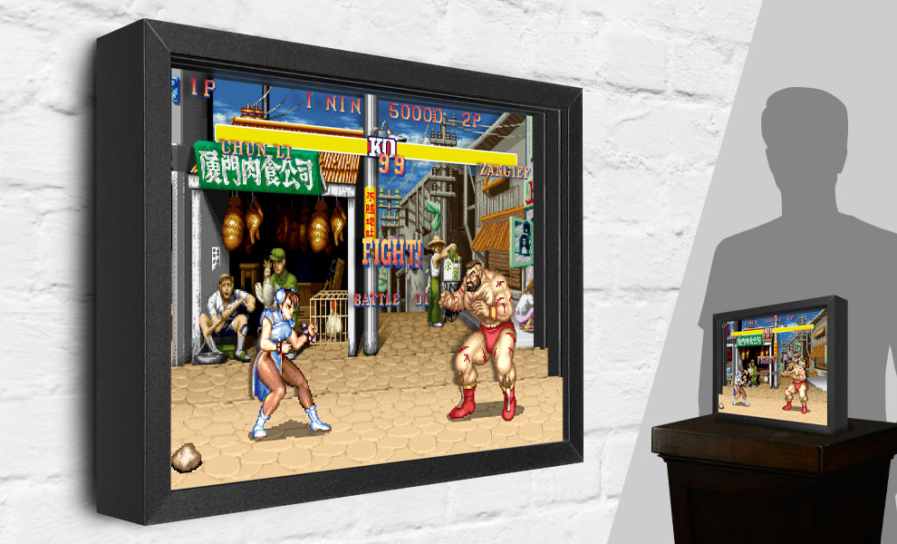 Gallery Feature Image of Street Fighter Chun-Li vs. Zangief Shadow box art - Click to open image gallery