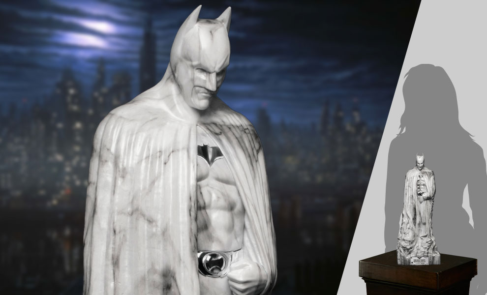 Gallery Feature Image of The Dark Knight Memorial (White Faux Marble Texture Edition) Statue - Click to open image gallery