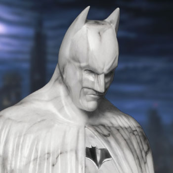 The Dark Knight Memorial (White Faux Marble Texture Edition) Statue