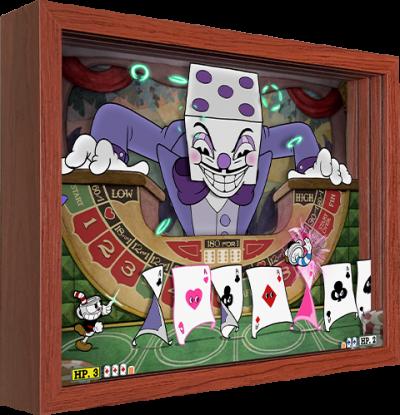 Cuphead King Dice Shadow box art