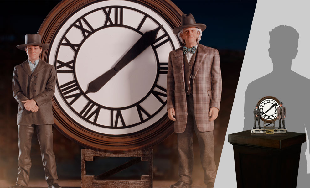Gallery Feature Image of Marty and Doc at the Clock Deluxe 1:10 Scale Statue - Click to open image gallery