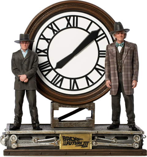 Iron Studios Marty and Doc at the Clock Deluxe 1:10 Scale Statue