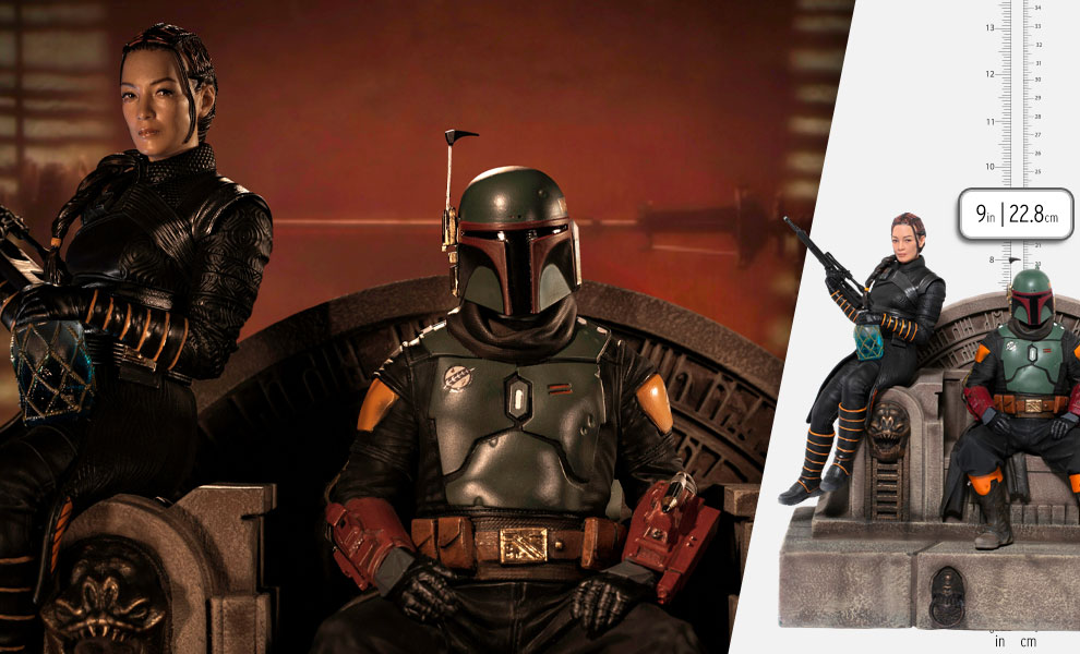 Gallery Feature Image of Boba Fett & Fennec Shand on Throne Deluxe 1:10 Scale Statue - Click to open image gallery