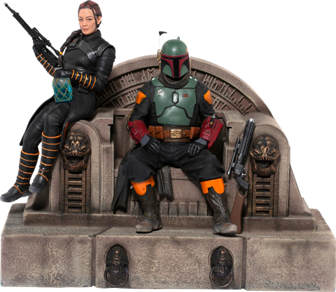 Iron Studios Boba Fett & Fennec Shand on Throne Deluxe 1:10 Scale Statue