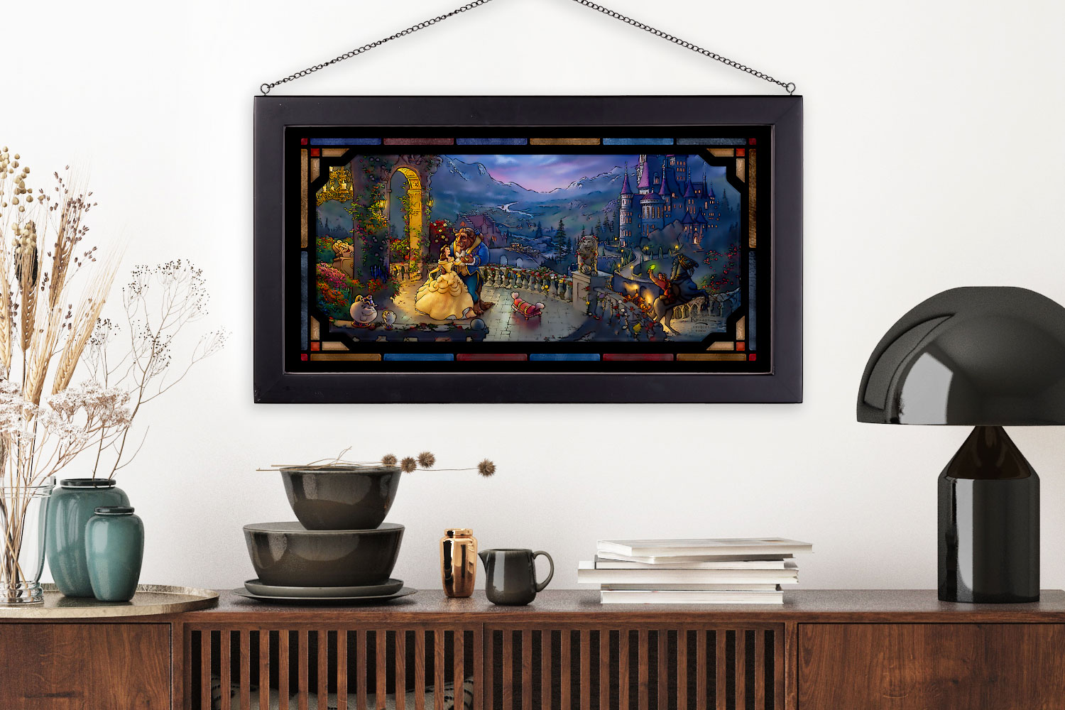Gallery Feature Image of Beauty and the Beast Dancing in the Moonlight Stained Glass - Click to open image gallery